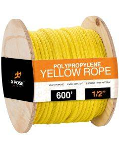 1/2 in. x 600 ft. Yellow Twisted Poly Rope