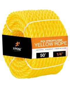1/4 in. x 50 ft. Yellow Twisted Poly Rope