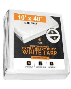 Extra  Heavy Duty White Tarps 10' x 40'