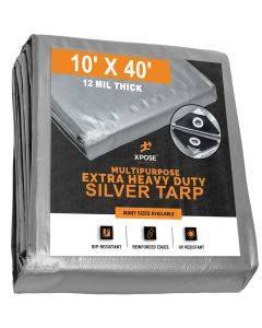Heavy Duty Silver Tarps 10' x 40'