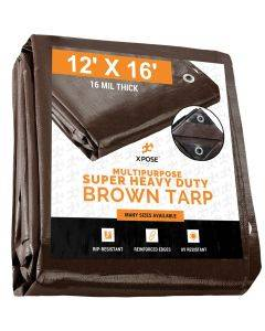 Super Heavy Duty Brown Poly Tarps 12' x 16' - Case of 3