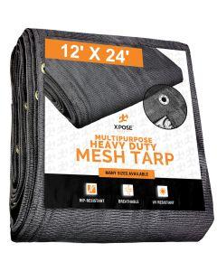 Black Mesh Truck Tarps 12' X 24'