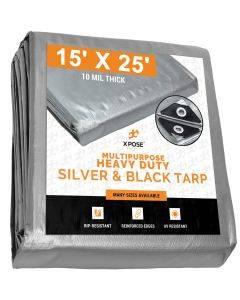 Heavy Duty Silver/Black Tarps 15' x 25' - Case of 3