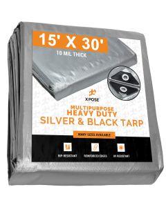 Heavy Duty Silver/Black Tarps 15' x 30' - Case of 3