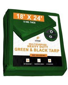Heavy Duty Green/Black Poly Tarps 18' x 24' - Case of 3