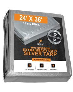 Heavy Duty Silver Tarps 24' x 36'