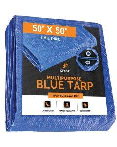 Blue Poly Tarps 50' x 50'