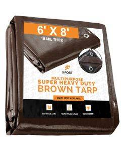 Super Heavy Duty Brown Poly Tarps 6' x 8'