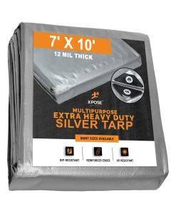 Heavy Duty Silver Tarps 7' x 10' - Case of 18