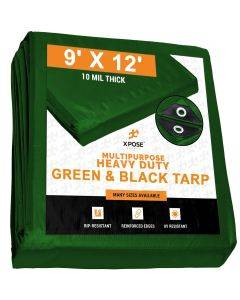 Heavy Duty Green/Black Poly Tarps 9' x 12' - Case of 10