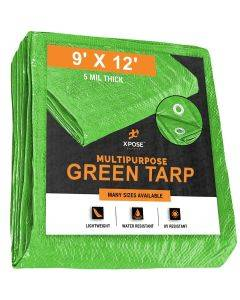 Green Poly Tarps 9' x 12'