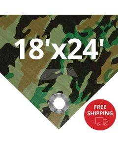 Camouflage Tarps 18' x 24' - Case of 4