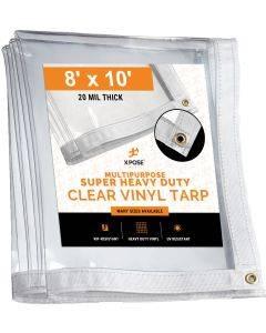 8' x 10' Heavy Duty 20 Mil Clear PVC Vinyl Tarp