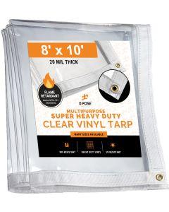 8' x 10' Heavy Duty Fire Retardant 20 Mil Clear PVC Vinyl Tarp