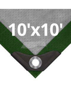 Heavy Duty Green/Silver Tarps 10' x 10'