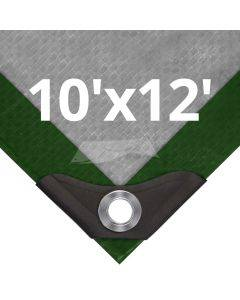 Heavy Duty Green/Silver Tarps 10' x 12'
