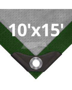 Heavy Duty Green/Silver Tarps 10' x 15'