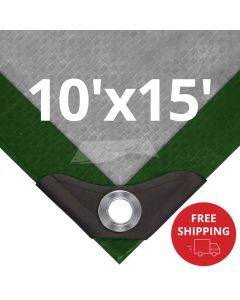 Heavy Duty Green/Silver Tarps 10' x 15' - Case of 8