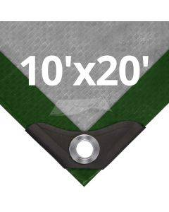 Heavy Duty Green/Silver Tarps 10' x 20'