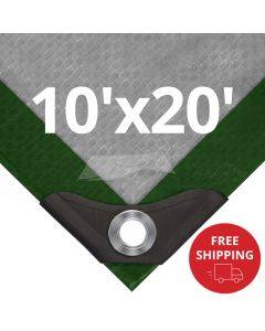 Heavy Duty Green/Silver Tarps 10' x 20' - Case of 5