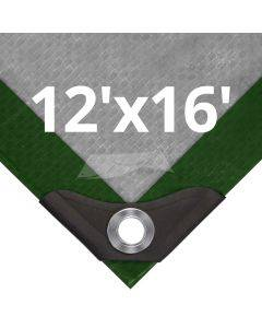 Heavy Duty Green/Silver Tarps 12' x 16'