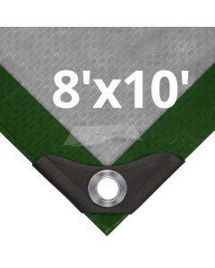 Heavy Duty Green/Silver Tarps 8' x 10'