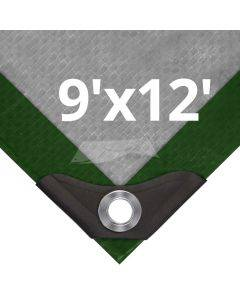 Heavy Duty Green/Silver Tarps 9' x 12'