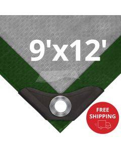 Heavy Duty Green/Silver Tarps 9' x 12' - Case of 10