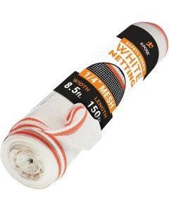 """1/16"""" Heavy Duty White Mesh Fire Retardant Safety Netting 8' 6"""" x 150'"""