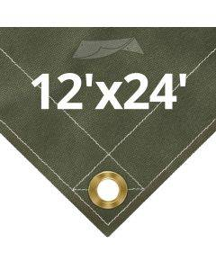 Olive Drab Canvas Tarps 12' x 24'