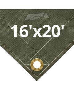 Olive Drab Canvas Tarps 16' x 20'