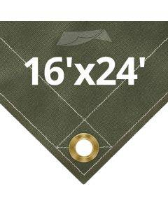 Olive Drab Canvas Tarps 16' x 24'
