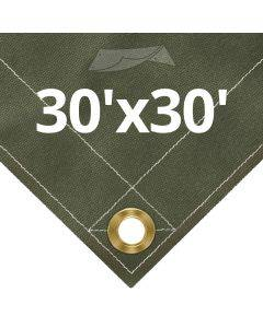 Olive Drab Canvas Tarps 30' x 30'